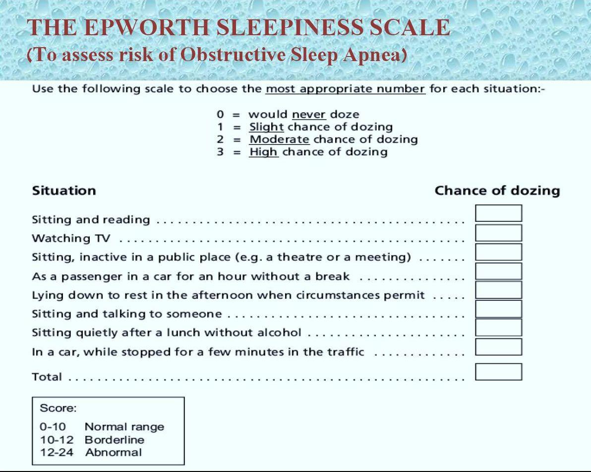 Epworth Sleepiness Scale Related Keywords - Epworth